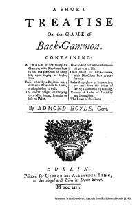 Pequeno Tratado sobre o Jogo de Gamão, Edmund Hoyle (1743)